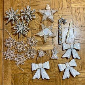 16 vintage white + silver Christmas tree ornaments
